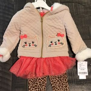18 month kitty outfit- jacket, shirt and leggings